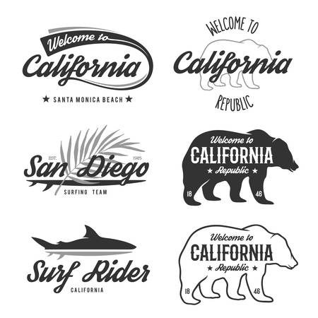 sharks: Vector vintage monochrome California badges. Design elements for t shirt print. Lettering typography illustrations. California republic bear. Illustration
