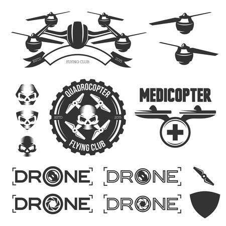 클럽을 비행하는 무인 항공기의 벡터 레이블, 배지 및 디자인 요소 집합. 일러스트