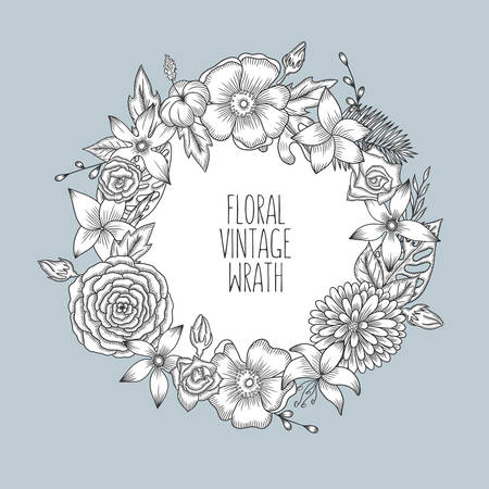 Floral vintage round wreath of flowers. Vector illustration for greeting cards, prints.