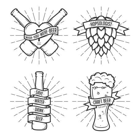 grunge bottle: Set of t-shirt beer prints. Beer labels, badges, design elements. Vintage ribbons with funny quotes. Phrases about beer.