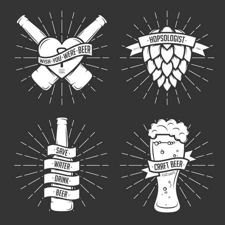 beer label design: Set of t-shirt beer prints. Beer labels, badges, design elements. Vintage ribbons with funny quotes. Phrases about beer.