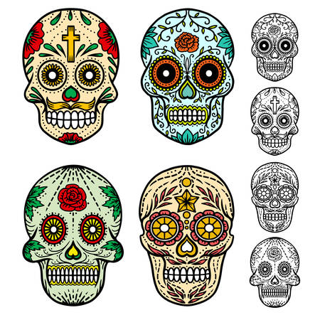 Day of the dead skulls. Hand drawn vector illustration. 矢量图像