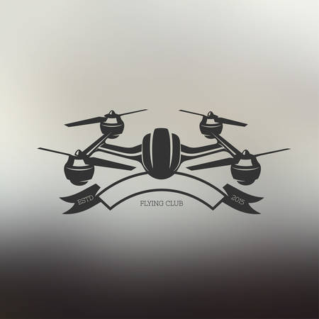 drone: Drone vintage style label. Vector sticker. Flying club emblem.