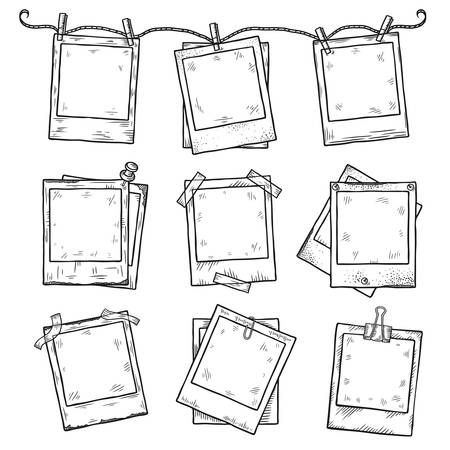 Hand drawn vintage photo frame doodle set. All main elements are separate. Vectores