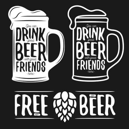 cerveza: Conjunto de impresiones de la tipografía de la cerveza de la vendimia. Cotizaciones de la cerveza. Wi-Fi gratis. Cerveza fría. Ilustración del vector. Vectores