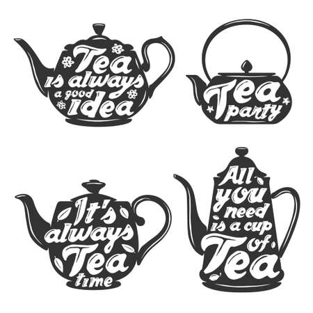 Set of tea pot silhouettes with quotes. Tea party. Tea time. Cup of tea. Tea posters and prints. Vintage vector illustration. Иллюстрация