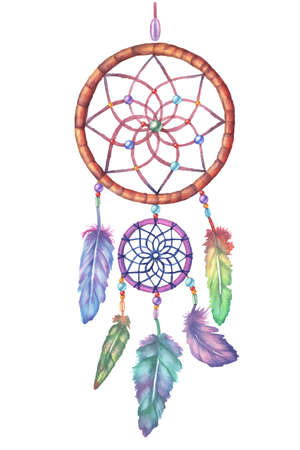 Watercolor dream catcher. Hand drawn vector illustration. Decorative element for posters, prints, stickers. Colorful feathers and ornament parts.