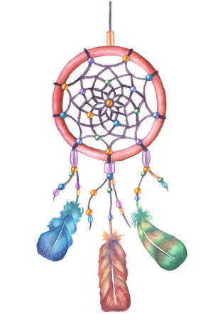 for a dream: Watercolor dream catcher. Hand drawn vector illustration. Decorative element for posters, prints, stickers. Colorful feathers and ornament parts.