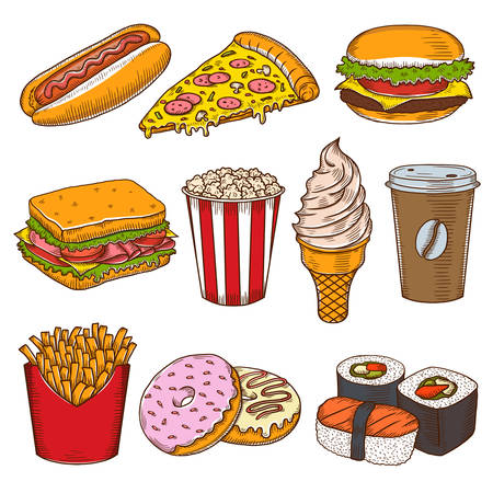 food icons: Set of vintage hand drawn fast food icons. Pizzeria, cafe, burgers vector illustrations. Illustration