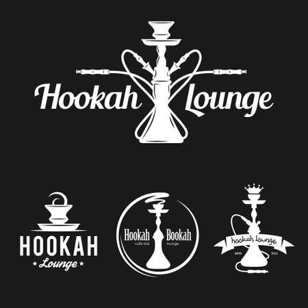 hookah: Set of hookah labels, badges and design elements. Vintage, emblem vector illustration.