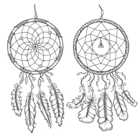 Dream catchers. Native american traditional symbol. T-shirt, bag, poster design. Vintage vector hand drawn illustration isolated on white background. Stock Illustratie