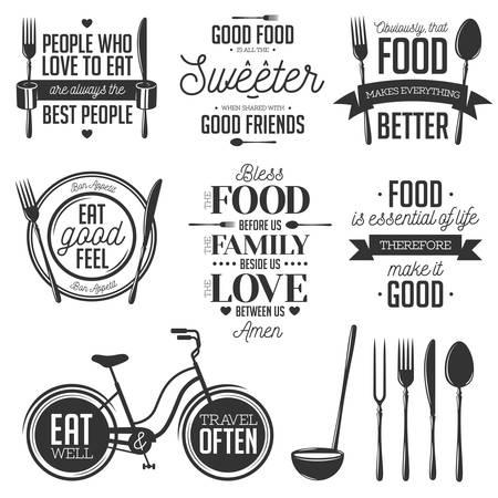 food: 빈티지 식품 관련 표기 따옴표의 집합입니다. 벡터 일러스트 레이 션. 주방 인쇄 디자인 요소입니다.