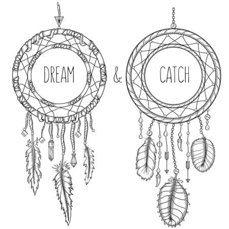 Dream catchers. Native american traditional symbol. T-shirt, bag, poster design. Vintage vector hand drawn illustration isolated on white background. Illustration