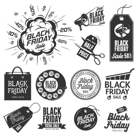 vintage banner: Black friday vintage labels set. Winter sale. Christmas sale. New year sale. Vector illustration.