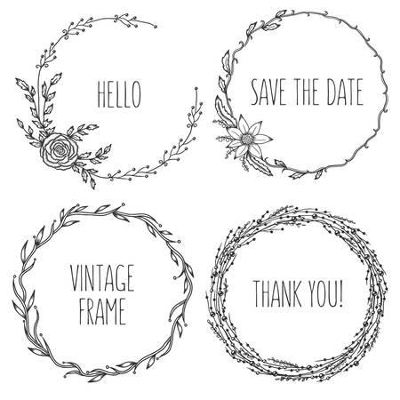 collection: Coronas de flores de época Vector. Colección de moda lindos cuadros de flores. Elementos de diseño gráfico para tarjetas de boda, estampados, decoración, tarjetas de felicitación. Dibujado a mano Ilustración determinada ronda. Vectores