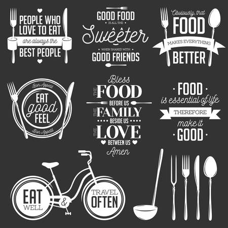 Set of vintage food related typographic quotes. Vector illustration. Kitchen printable design elements. Фото со стока - 47380285