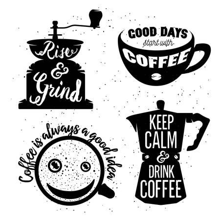 fond de texte: Dessin�s � la main caf� typographie affiches fix�es. Cartes de voeux ou invitations imprim�es avec du caf� ware et citations. L�ve-toi et moudre. Restez calme et buvez du caf�. Le caf� est toujours une bonne id�e. Bonnes journ�es commencent avec le caf�.