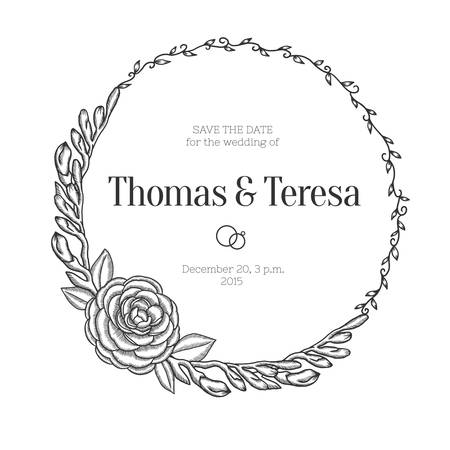 hand drawn rose: Hand drawn floral wedding invitation. Vintage round wreath. Vector illustration. Illustration