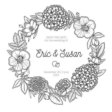 手描きの花の結婚式の招待状。ヴィンテージの丸い花輪。ベクトルの図。