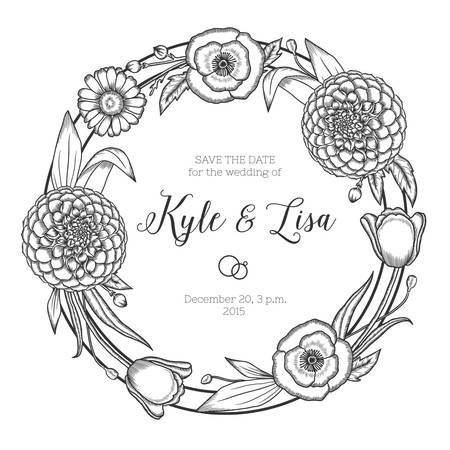 hand silhouette: Hand drawn floral wedding invitation. Vintage round wreath. Vector illustration. Illustration