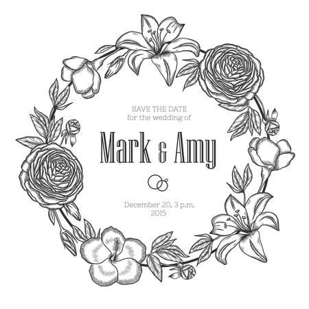 illustration invitation: Hand drawn floral wedding invitation. Vintage round wreath. Vector illustration. Illustration