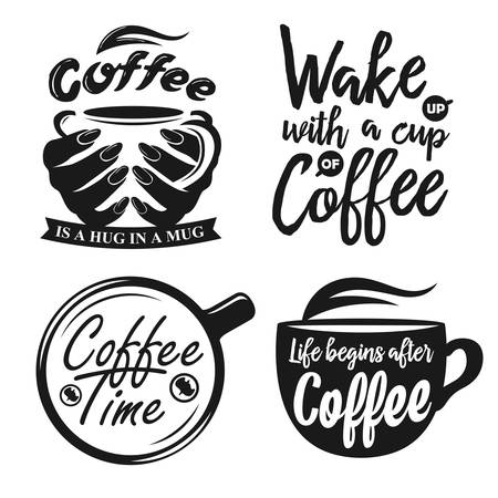 Hand drawn typography coffee posters set. Greeting cards or print invitations with coffee ware and quotes. Coffee time. Life begins after coffee. Coffee is a hug in a mug. Stok Fotoğraf - 48952383