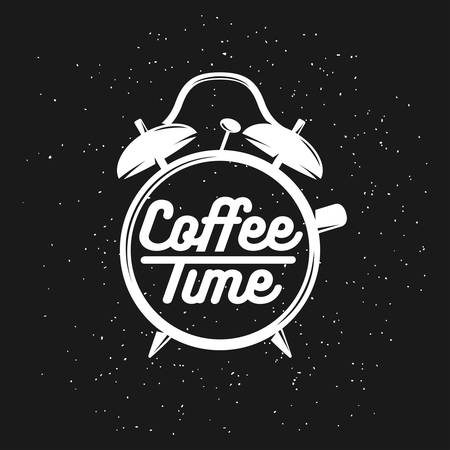 coffee hour: Alarm clock typography coffee related poster. Coffee time lettering. Vector vintage illustration on black background.