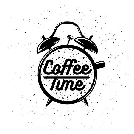 Alarm clock typography coffee related poster. Coffee time lettering. Vector vintage illustration on white background. Stock Illustratie
