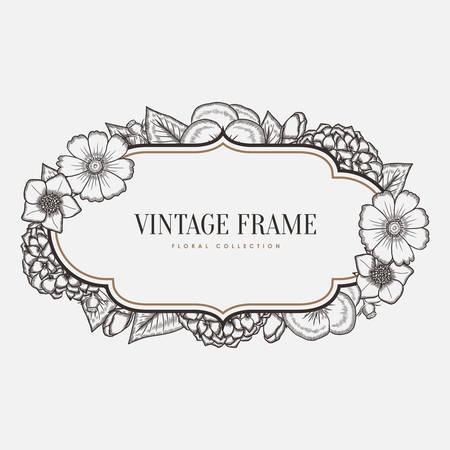 Vector bloemen vintage frame. Retro-stijl grafische illustratie. Design element voor wenskaarten, uitnodigingen en ga zo maar door. Stock Illustratie