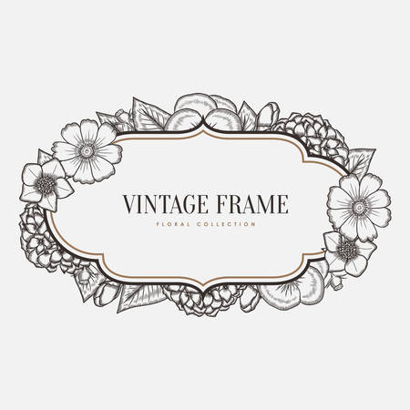 Vector floral vintage frame. Retro style graphic illustration. Design element for greeting cards, invitations and so on. Illusztráció