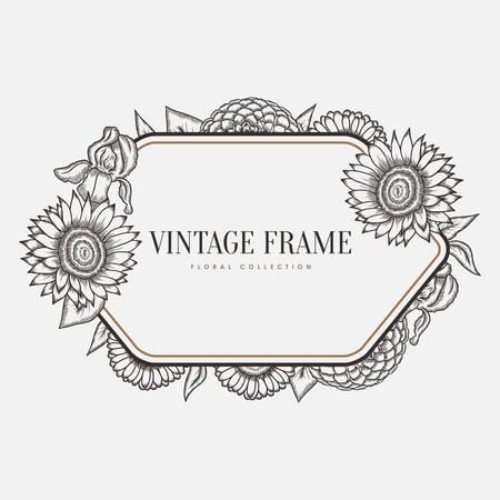 Vector Floral Vintage Frame. Retro Style Graphic Illustration ...