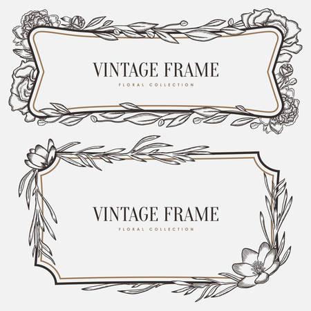 vintage border: Vector floral vintage frame. Retro style graphic illustration. Design element for greeting cards, invitations and so on. Illustration
