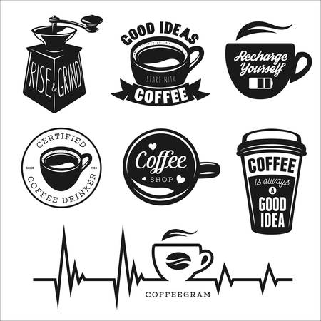 Coffee related posters, labels, badges and design elements set. Good ideas start with coffee. Recharge yourself quote. Rise and grind phrase. Coffee shop sign.