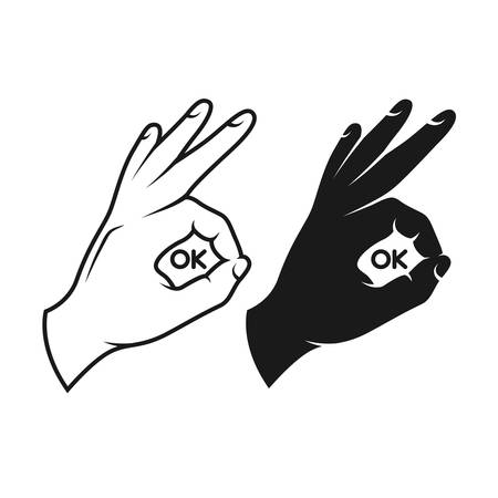 human okay hand sign: Hand making okay sign. Black and white variants. Vector vintage illustration. Ok text inside the sign.
