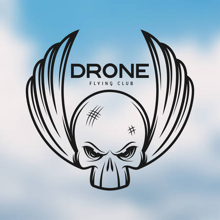 Drone flying club emblem. Vintage vector illustration. Label, badge for sport team. Skull monochrome illustration.