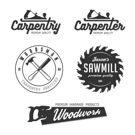 Carpenter design elementen in vintage stijl voor logo, etiket, kenteken, t-shirts. Timmerwerk retro vector illustratie. Stock Illustratie