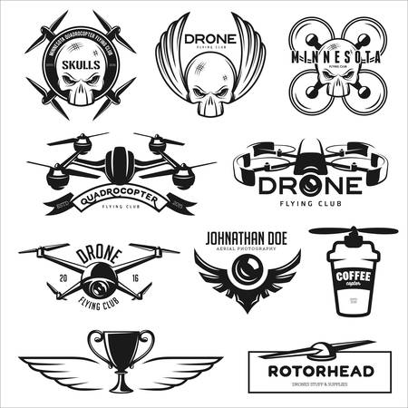 drone: Vector set of drone flying club labels, badges and design elements.