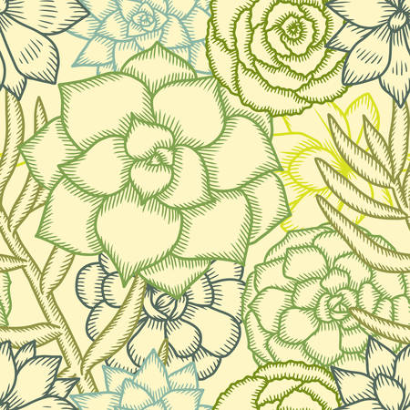 decor graphic: Hand drawn vector succulents seamless pattern. Pen graphic vintage illustration. Cute trendy design elements for decor needs.