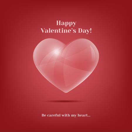 심장의 발렌타인 인사말 카드 유리했다. 빈티지 벡터 일러스트 레이 션. 트렌디 한 디자인 요소입니다. 밝은 빨간색 낭만적 인 배경. 낭만적 인 말. 내  일러스트