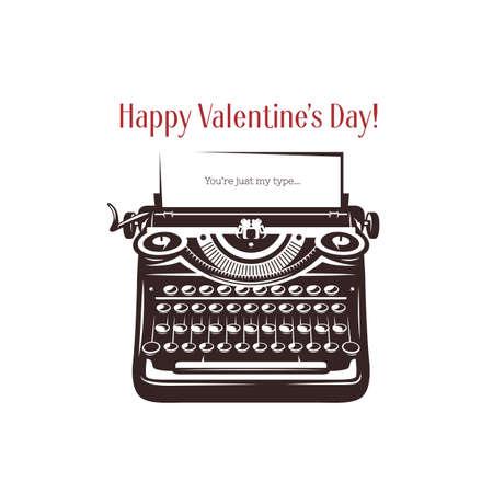 Valentijn dag minimalistische stijl kaart. Vintage schrijfmachine met tekst op papier. Je bent gewoon mijn type. Trendy design element voor posters, wenskaarten, uitnodigingen. Vector retro illustratie. Stock Illustratie