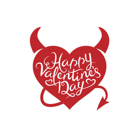 devil horns: Valentines day lettering background. Heart with devil horns and tale. Vintage vector illustration. Trendy design element for greeting cards, invitations, posters. Illustration