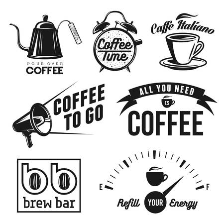 Coffee related labels, badges and design elements set. All you need is coffee. Coffee to go. Brew bar and coffee shop signs.
