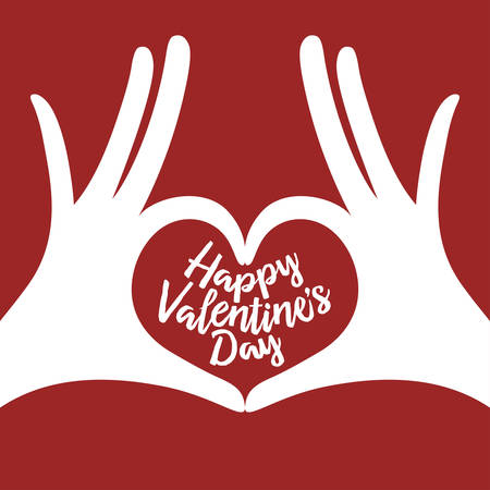 Valentine day lettering background with hands in heart gesture. Happy valentines day phrase. Minimalistic greeting card. Vector vintage illustration.