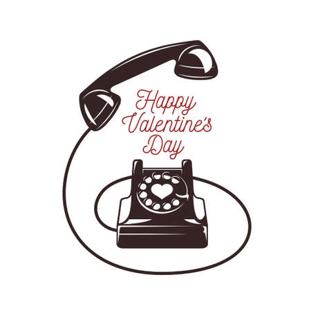 dialer: Valentine day minimalistic style card. Vintage phone with greeting text. Happy valentines day. Trendy design element for posters, greeting cards, invitations. Vector retro illustration.
