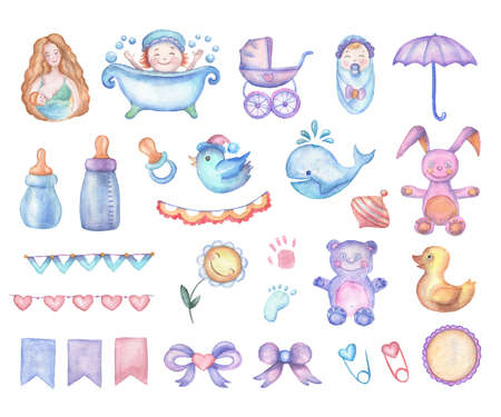 baby toys: Watercolor baby shower set of design elements in high resolution.