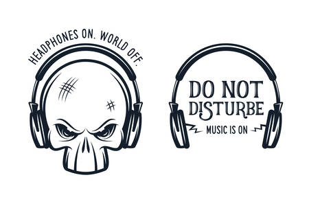 heavy metal: Skull in headphones t-shirt print with quotes. Headphones on. World off. Do not disturbe. Music is on. Vintage vector illustration. Skull is separate. Illustration