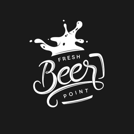 typography: Beer point typography. Vector vintage lettering illustration. Chalkboard design element for beer pub. Beer advertising.