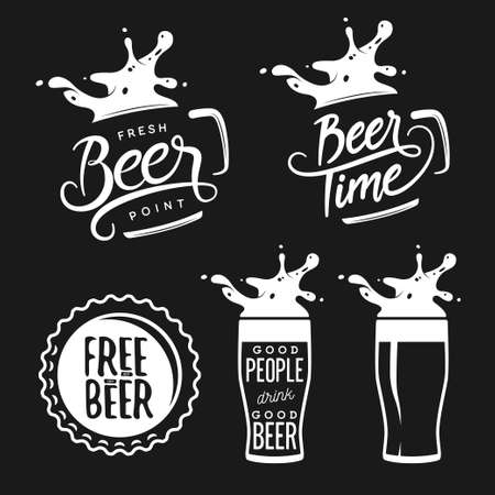 art and craft: Beer related typography. Vector vintage lettering illustration. Chalkboard design elements for beer pub. Beer advertising.