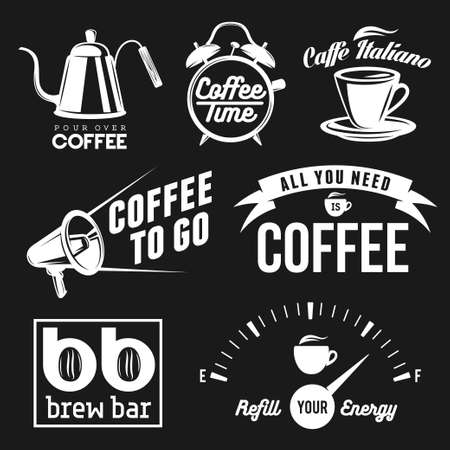brew: Coffee related labels, badges and design elements set. All you need is coffee. Coffee to go. Brew bar and coffee shop signs.