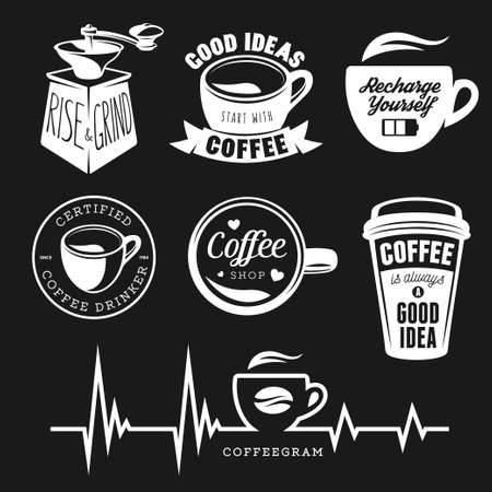 Coffee related posters, labels, badges and design elements set. Good ideas start with coffee. Recharge yourself quote. Rise and grind phrase. Coffee shop sign. Vector Illustration